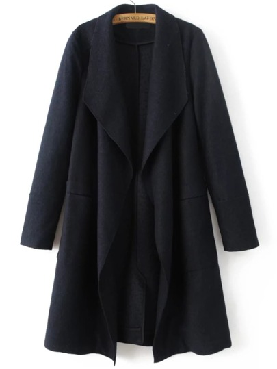 Black Waterfall Collar Wool Blend Coat