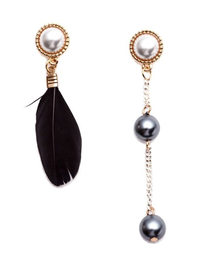 Black Feather Faux Pearl Metal Ball Asymmetrical Earrings