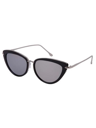 Black Frame Metal Arm Cat Eye Sunglasses