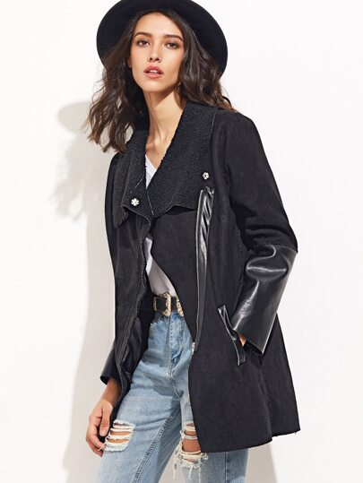 Black Faux Suede Mixed Media Asymmetric Zip Coat