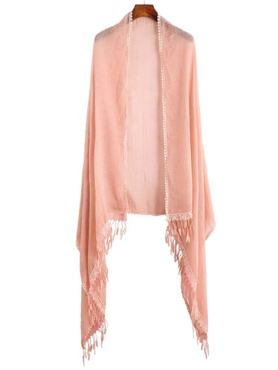 Pink Lace Trim Fringe Scarf