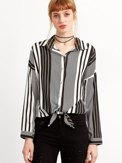 Vertical Striped Drop Shoulder Knot Black And White Blouse