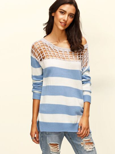 Blue And White Striped Hollow Out Neck Sweater