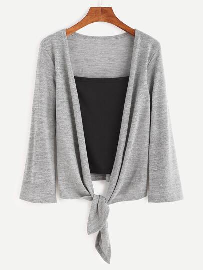 Grey Knotted False Two Pieces Sweater