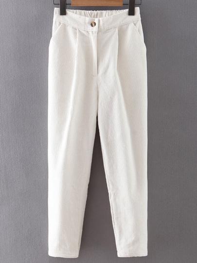 Pantalones estilo harem de pana con botones - blanco