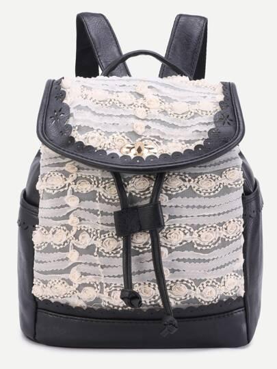 Black Lace Flower Embellished Drawstring PU Backpack