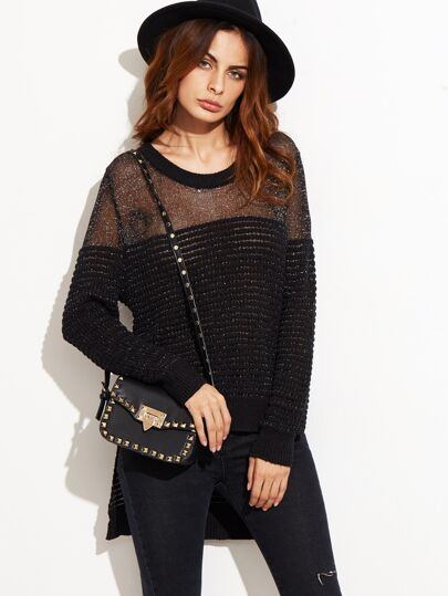 Black Illusion Neck Ribbed High Low Sparkle Sweater