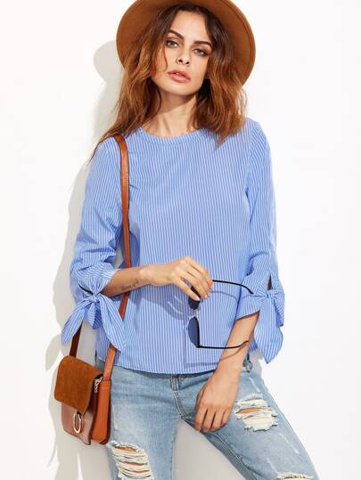 Blue Pinstripe Tie Sleeve High Low Blouse