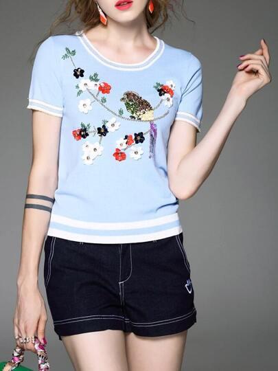 Sudadera a rayas con adorno flor de lentejuelas - azul