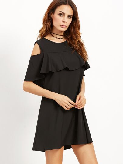 Black Open Shoulder Ruffle Dress