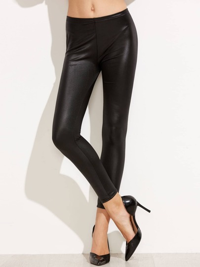 Leggings moulants en similicuir - noir