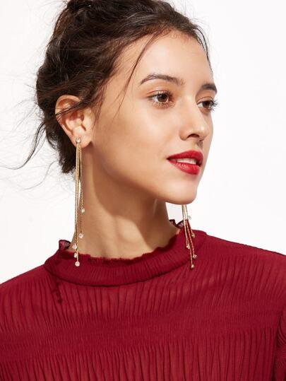 Gold Plated Rhinestone Tassel Drop Earrings