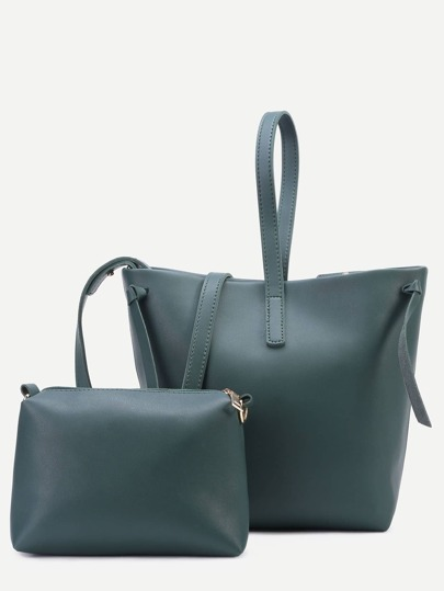 Green Faux Leather Shoulder Bag Set