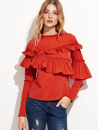Orange Crew Neck Slit Sleeve Ruffle Top