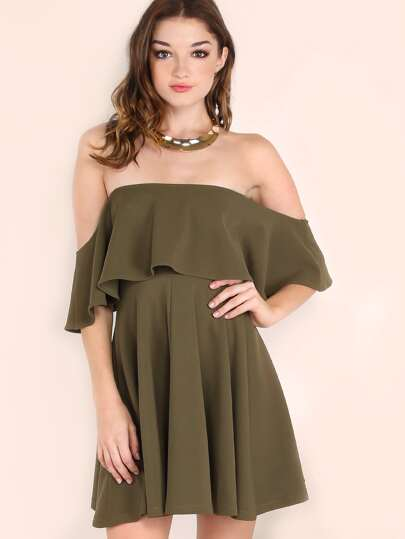 Olive Green Off The Shoulder Skater Dress