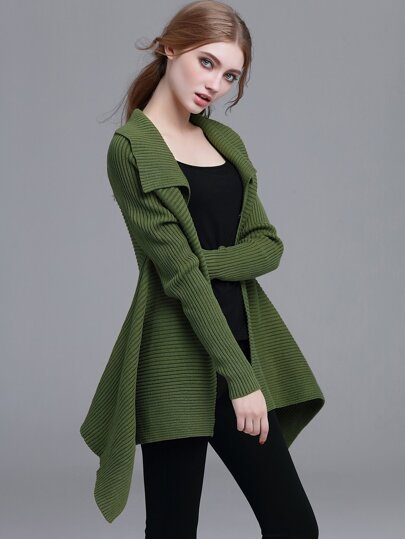 Army Green Open Front Ribbed Knit Asymmetrical Sweater Coat