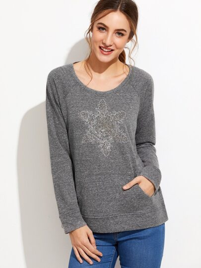 Dark Grey Raglan Sleeve Sequin Trim Sweatshirt