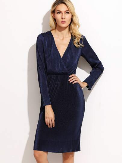 Navy Surplice Front Pleated Pencil Dress
