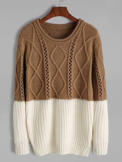 Pull lâche tricoté mélangé contrasté