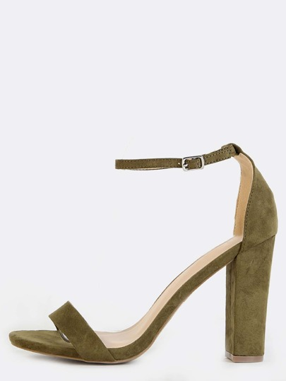 Faux Suede Single Strap Chunky Heels OLIVE