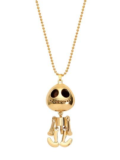 مطلي بالذهب الغريبة رئيس جمجمة قلادة البلوز