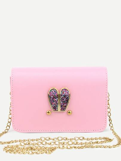 Pink PU Metal Rabbit Ear Embellished Messenger Bag