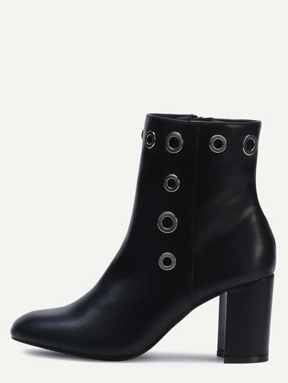 Klobige Schuhe Spitze Zehe PU-schwarz