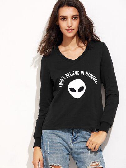 Black Alien Print V Neck Sweatshirt