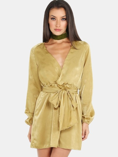 Sleeved Wrapover Dress MUSTARD