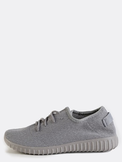 Knitted Textured Sole Sneakers LIGHT GREY