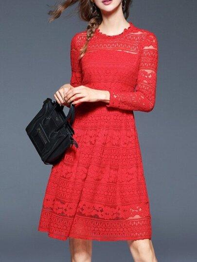 Vestido línea A de encaje con bordado - rojo