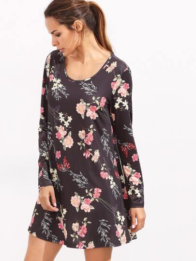متعدد الألوان الزهور الخامس الرقبة فستان قصير الأكمام