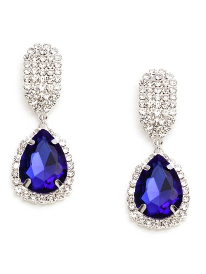 Dark Blue Rhinestone Encrusted Drop Earrings