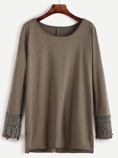 Olive Green Contrast Crochet Cuff Slit Side T-shirt