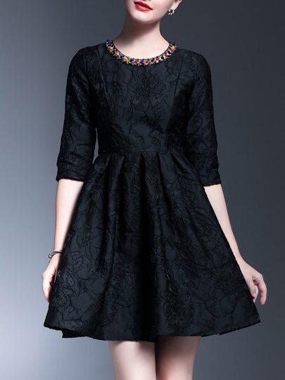 Black Beading Disc Flowers A-Line Dress