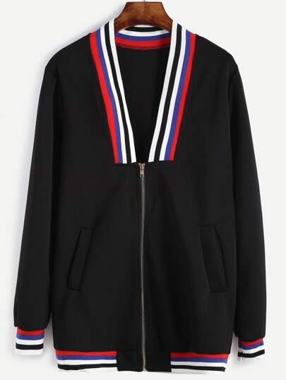 Contrast Striped Trim Baseball Jacket