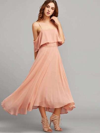 Pink Spaghetti Strap Ruffle Dress