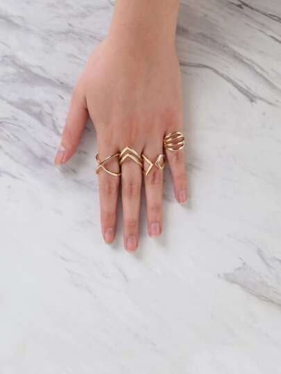 Metallic Criss Cross Ring Set GOLD