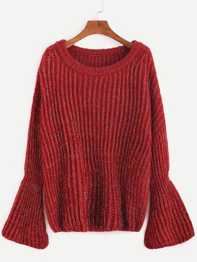Red Marled Knit Bell Cuff Sweater
