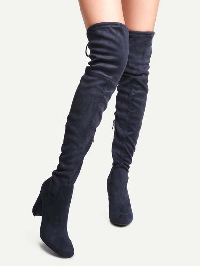 Overknee-Stiefel mit Schleife hinten Spitze Zehe-blau