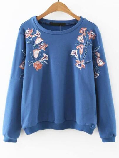 Blue Flower Embroidered Sweatshirt