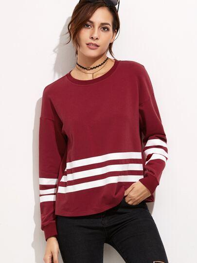 Burgundy Drop Shoulder Sweatshirt With Varsity Stripe Detail