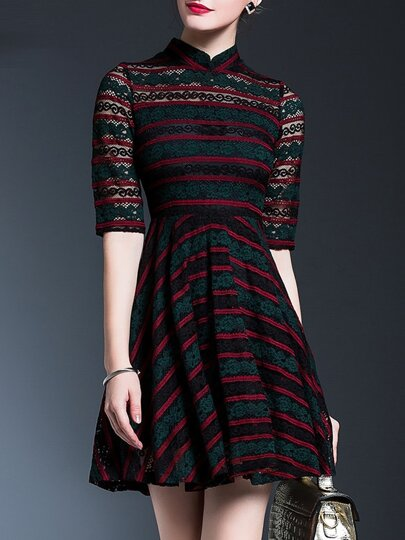Black Collar Striped Sheer Lace A-Line Dress