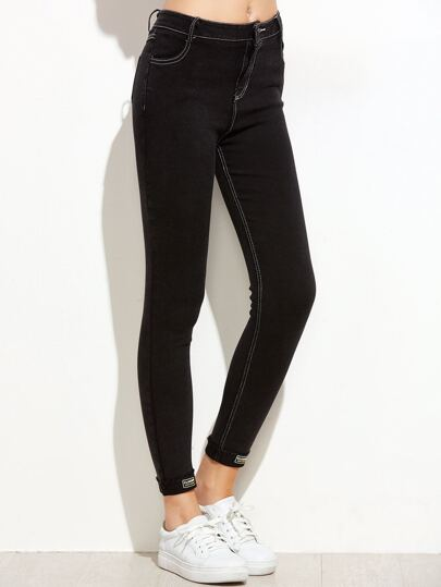 Pantaloni Denim Patch Con Frangia - Nero