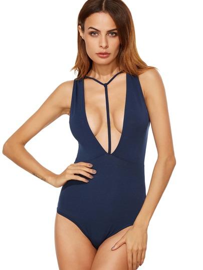 Plunging Y-Strap Cut Out Bodysuit