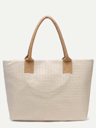 Beige Woven PU Tote Bag