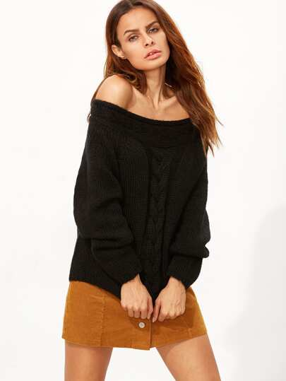 Black Cable Knit Off The Shoulder Sweater