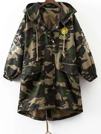 Army Green Embroidery Hooded Dip Hem Camouflage Coat