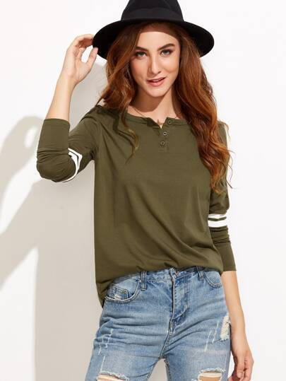 Button Neck Striped T-shirt