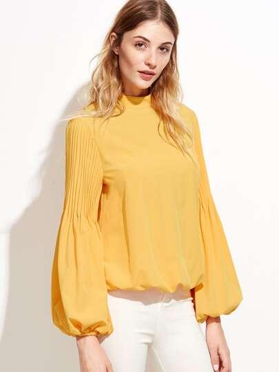 Bluse Plissee Latern Ärmel  Stehkragen keyhole-gelb